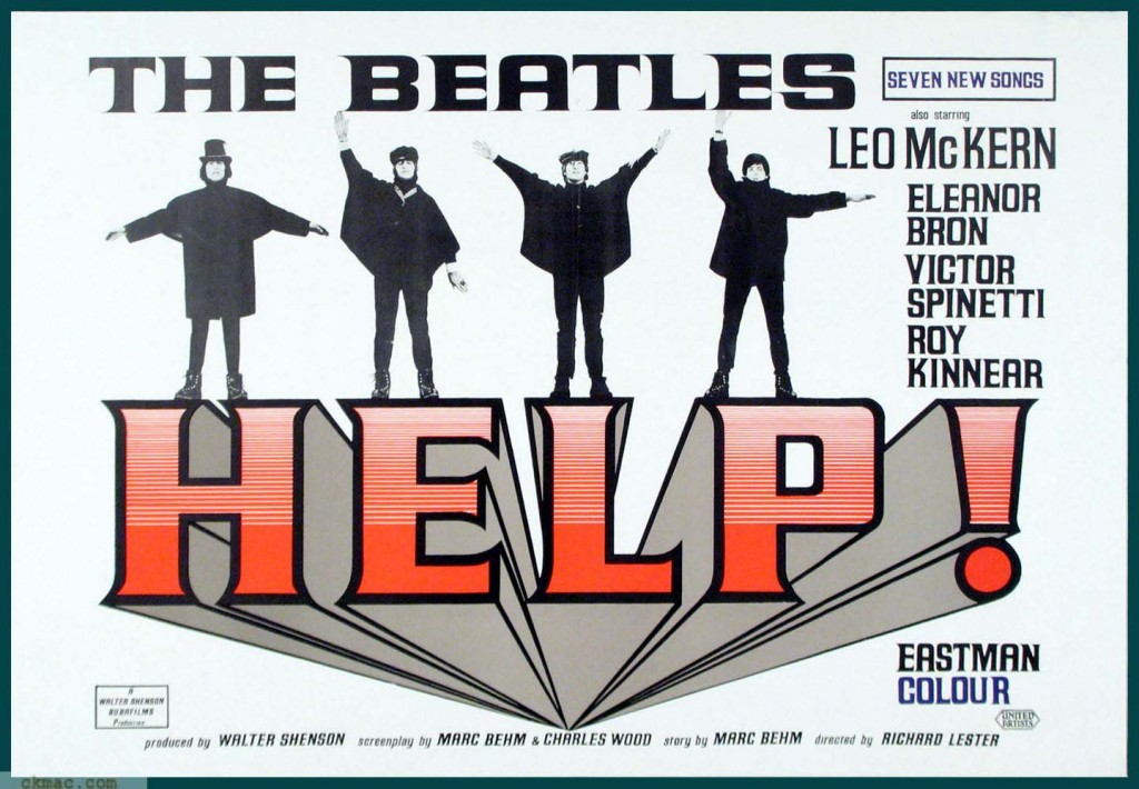 Actual Beatles movie Help! 1965 theater lobby placard.