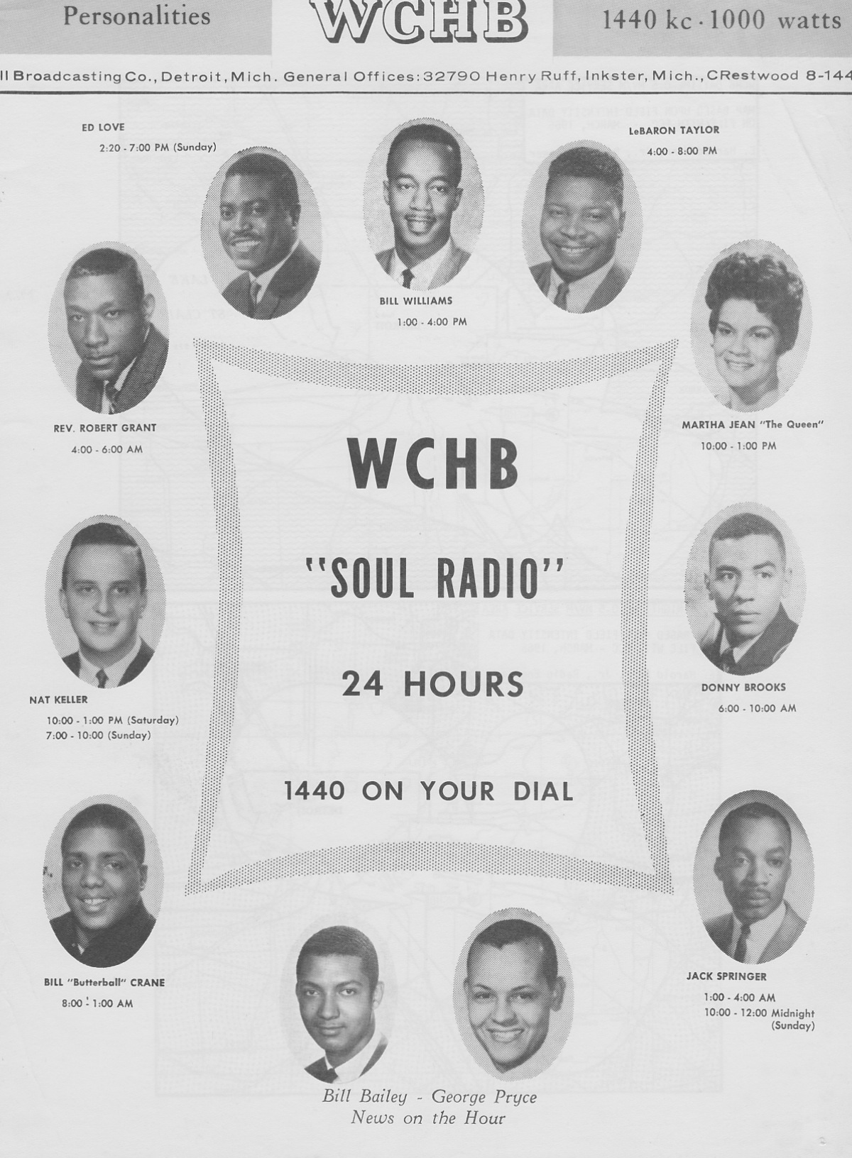 """Detroit WCHB-AM 1440 """"Soul Radio"""" personalities, circa 1966. (Click on image for larger view)."""