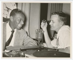 Capitol jazz artist Nat King Cole with Detroit radio personality Ed McKenzie on WXYZ radio, earlier in 1954 (Click on image for larger view)