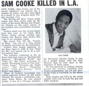 A newspaper account on the death of Sam Cooke, December 12, 1964 (Click image for larger view)