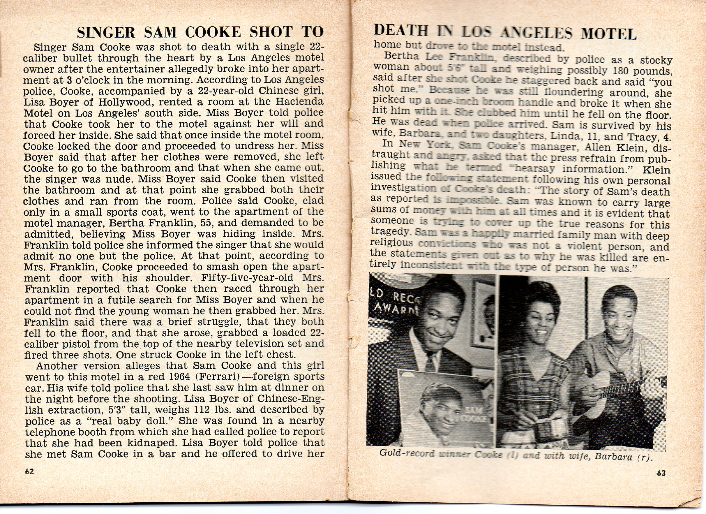 SAM COOKE EULOGIZED; FUNERAL HELD IN CHICAGO . . . JANUARY ...