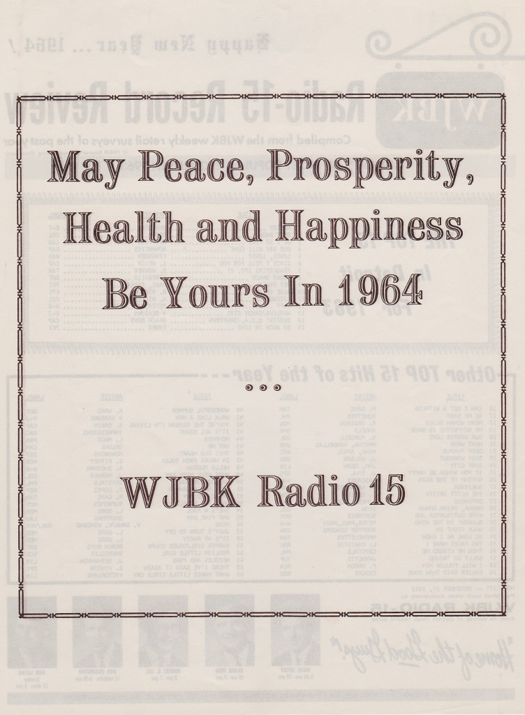 WJBK RADIO SURVEY - HAPPY NEW YEAR 1964 - BACK
