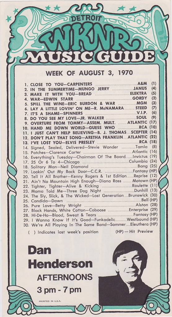 WKNR MUSIC GUIDE - AUGUST 3, 1970 - FRONT