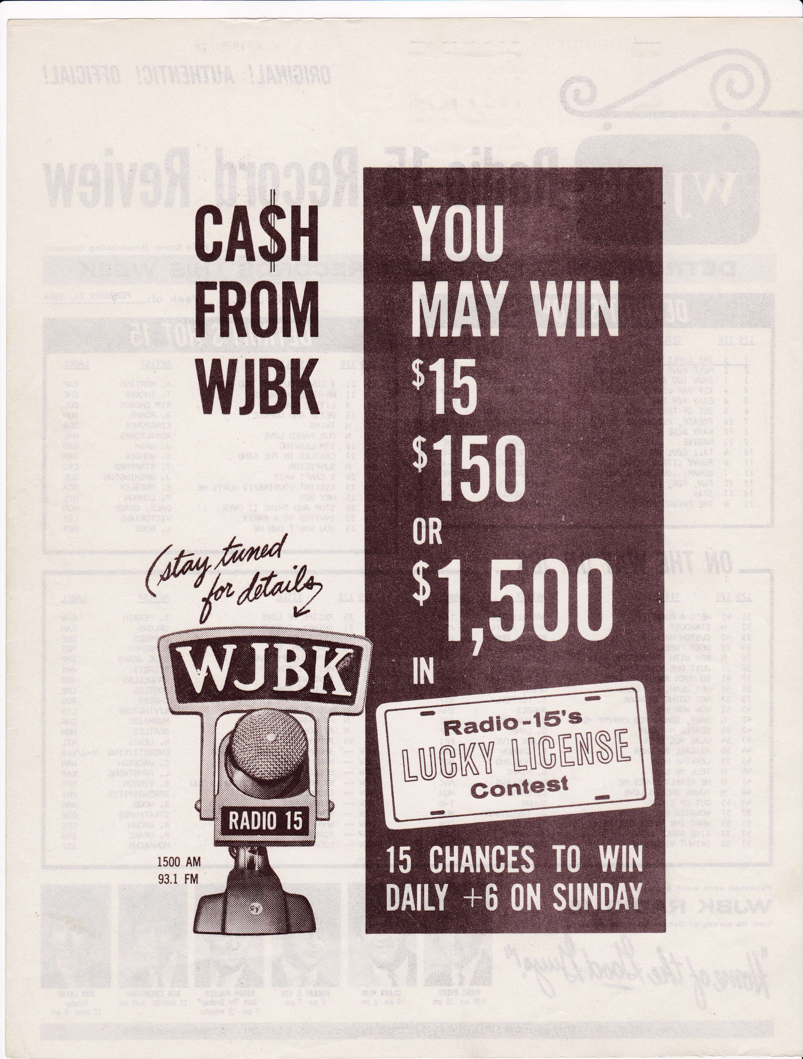 WJBK SURVEY - FEBRAURY 21, 1964 - BACK
