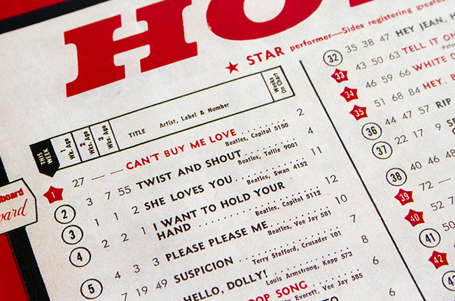 The Beatles Top 5 on Billboard Singles Chart, April 4, 1964