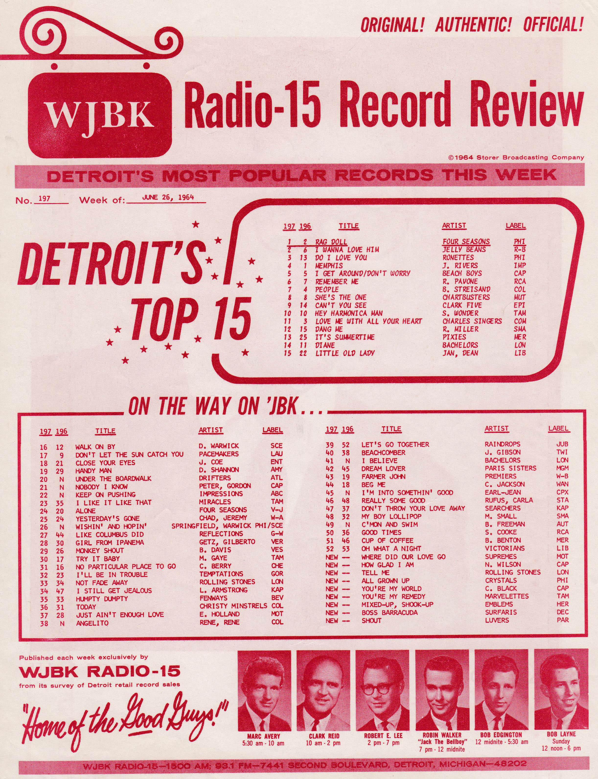 WJBK SURVEY - JUNE 26, 1964 - FRONT
