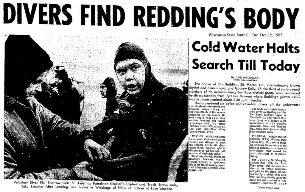 The Day Otis Redding Died: December 10, 1967, Lake Monona ...