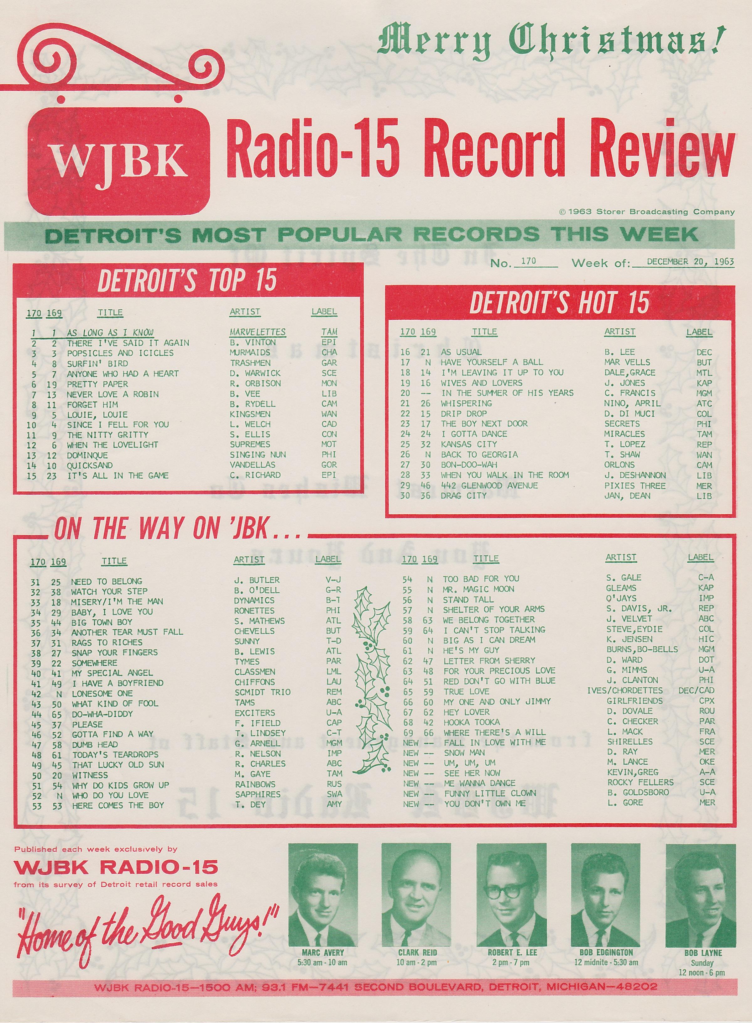 WJBK-Survey-December-20-1963-Front