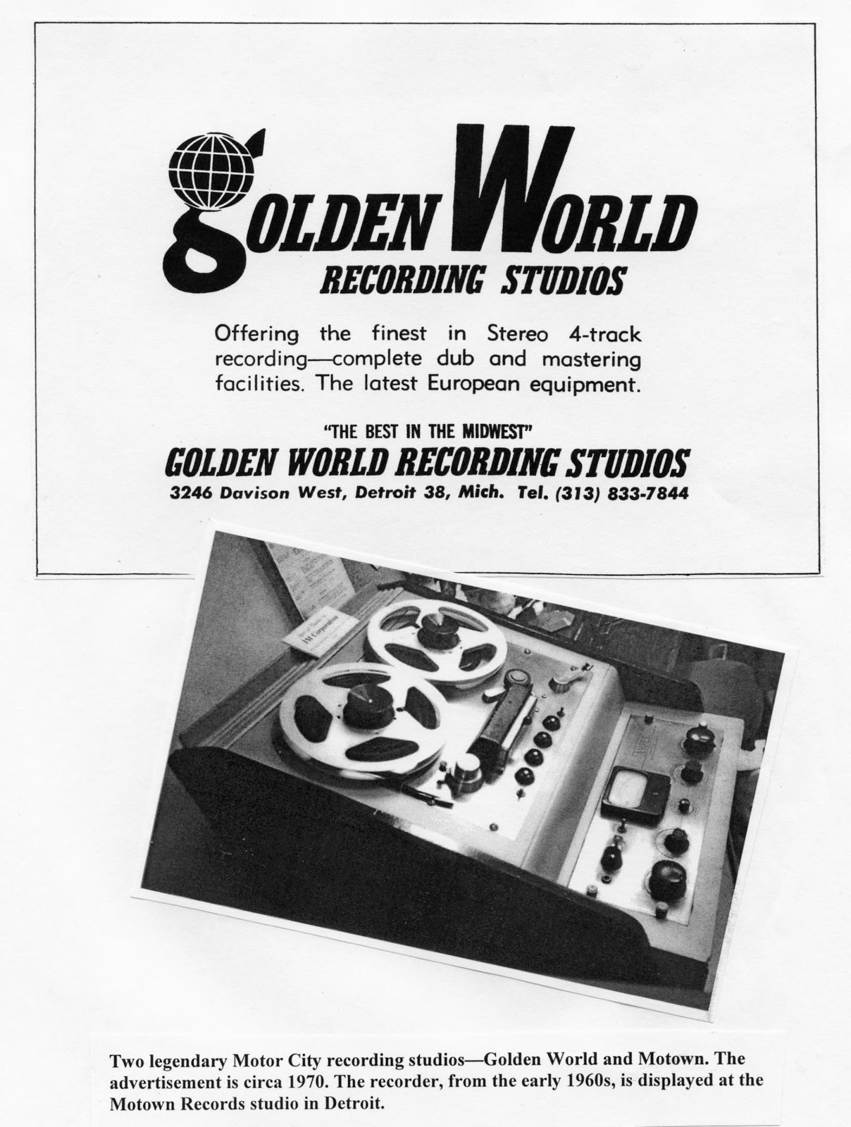 """The label and its subsidiaries were purchased by Berry Gordy in 1966, and folded into Gordy's Motown Record Corporation. The Golden World studio became Motown's """"Studio B"""", working in support of the original Motown recording studio (Studio A) at Hitsville USA. Before its purchase by Gordy, the studio's recordings often included moonlighting Motown back-up musicians, including James Jamerson on bass and George McGregor, who was the studio percussionist."""