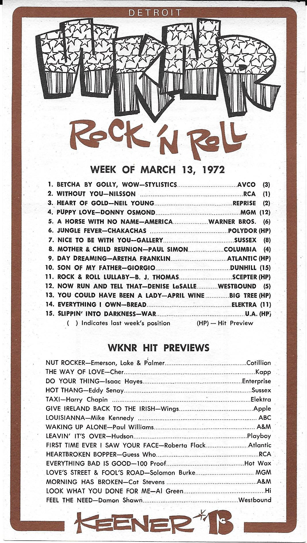 WKNR - March 13, 1972 - Front