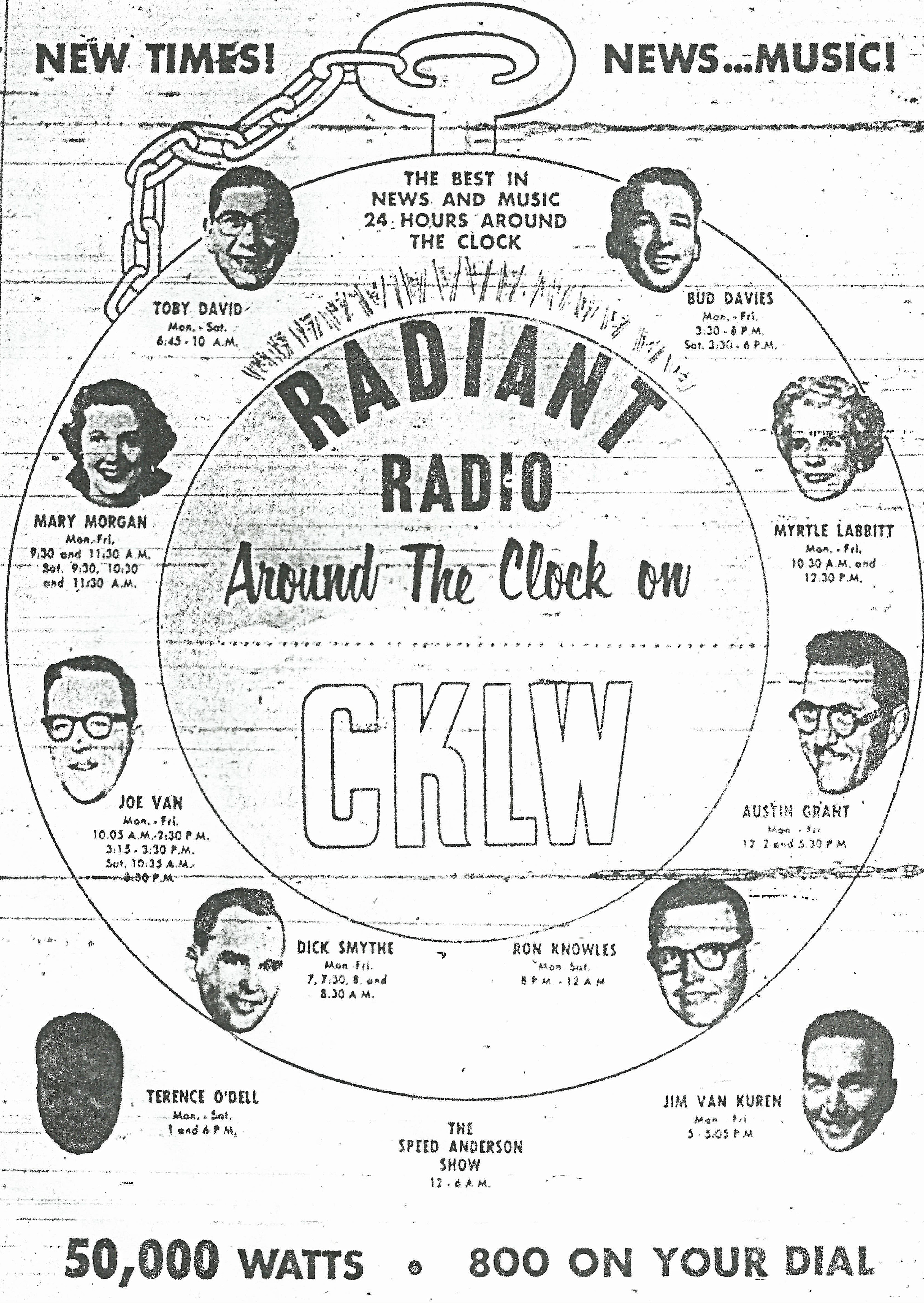 "CKLW 800, featuring Bud Davies, Myrtle Labbitt, Austin Grant, Ron Knowles Dick Smythe, Joe Van, Mary Morgan, Toby David. Also, Terrance O' Dell, ""Speed"" Anderson and Jim Van Kuren. From the entertainment section of The Detroit News, April 7, 1959."