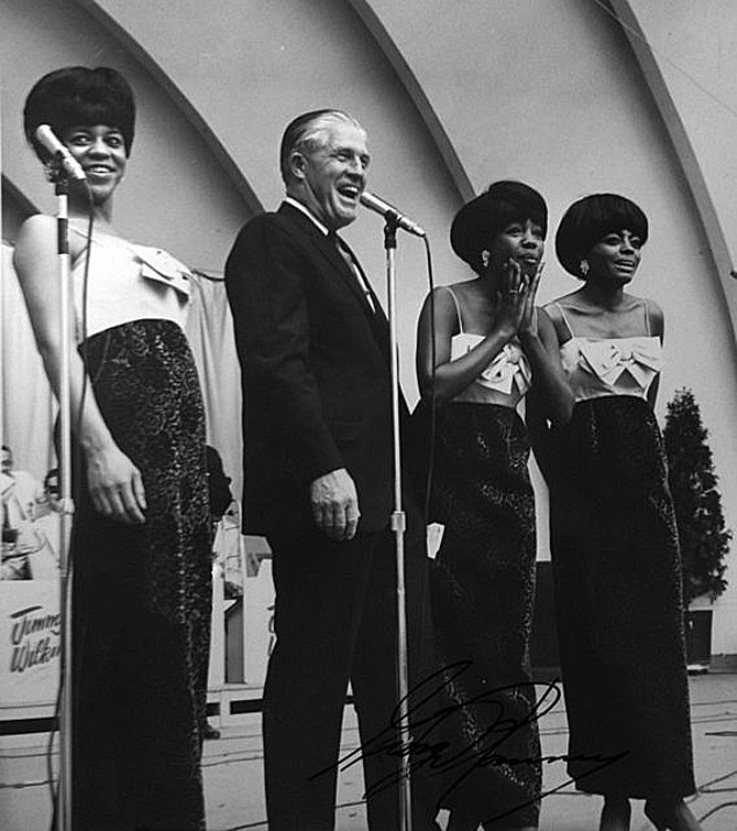 The Supremes (and the Jimmy Wilkins Orchestra) about to be introduced by Michigan Governor George Romney, Opening Day, Michigan State Fair, August 27, 1965.