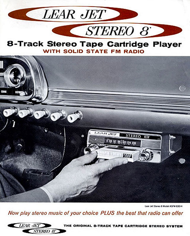 Lear Jet Stereo 8-track ad, car player, 1966