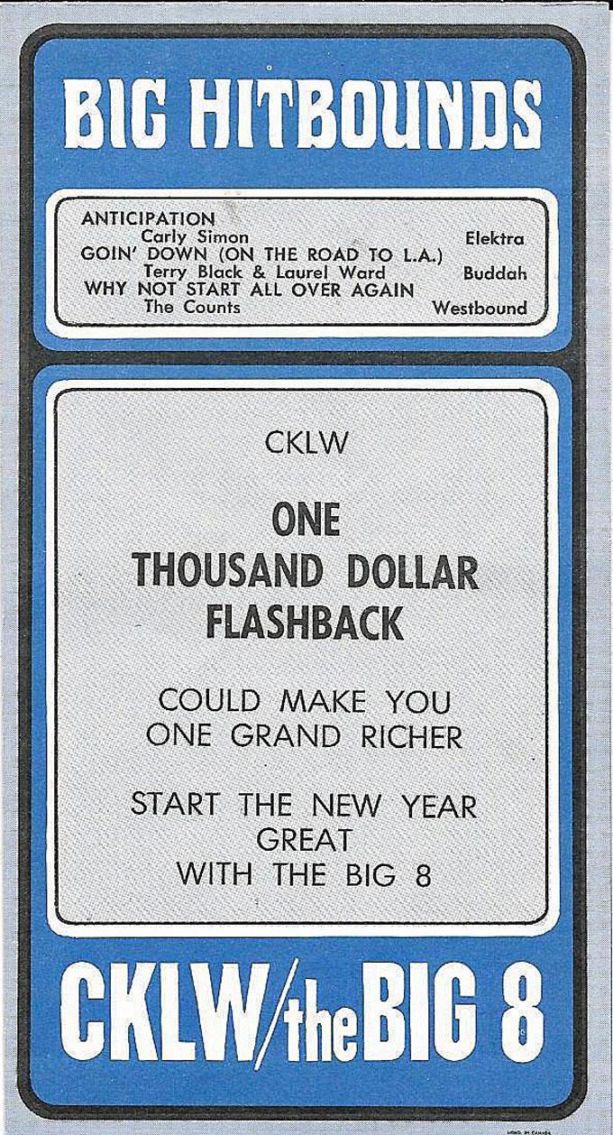 CKLW December 27, 1971(back)