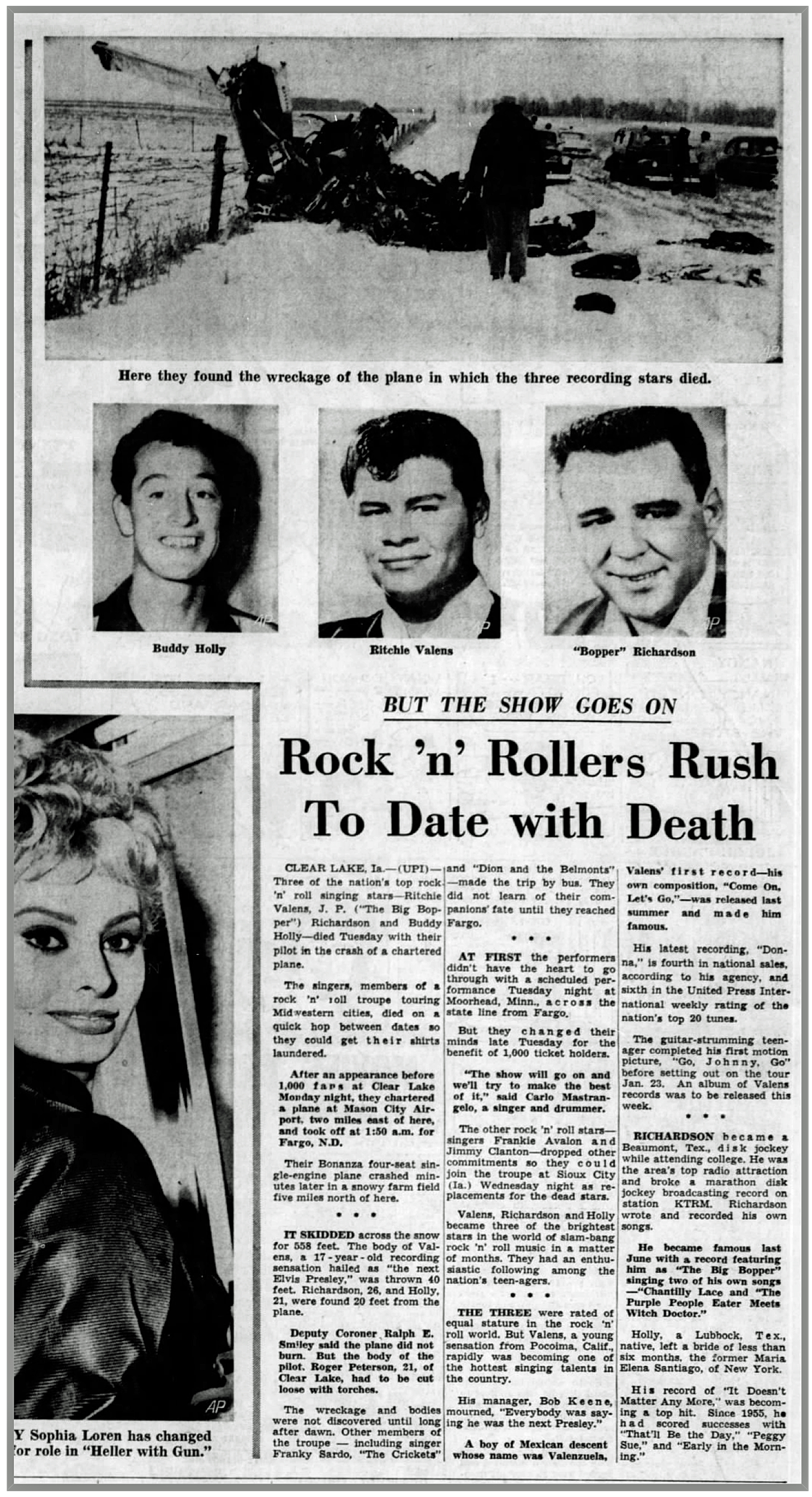 DETROIT FREE PRESS February 4, 1959 (Click on image 2x for largest detailed view).